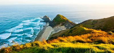 Cape Reinga at dawn - panarama view