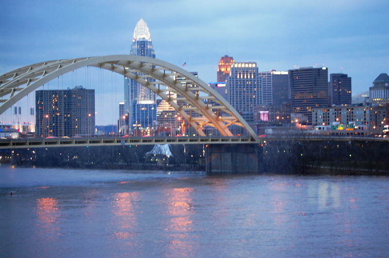 Cincinnati, OH at night as seen from across the Ohio River in Newport, Kentucky