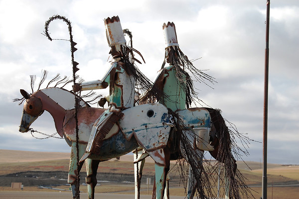 Scrap Metal Sioux Indian chiefs in Cut Bank, Montana