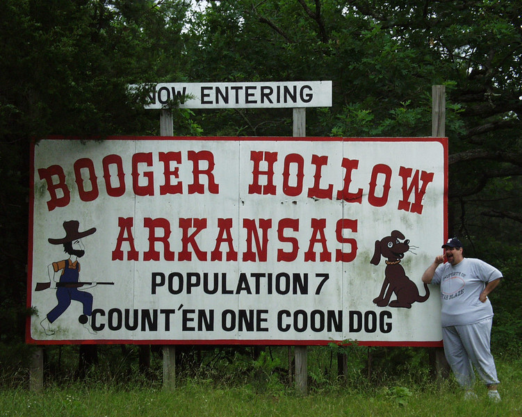 Sign to Booger Hollow, Arkansas