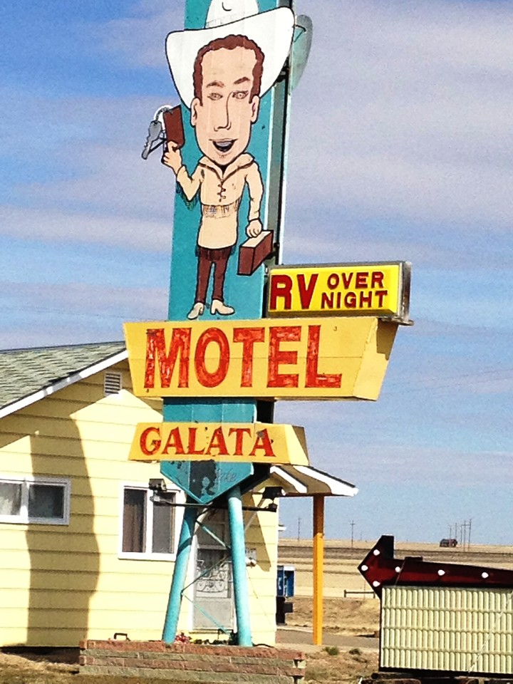 Galata Motel neon sign in Galata, Montana on US Hwy 2
