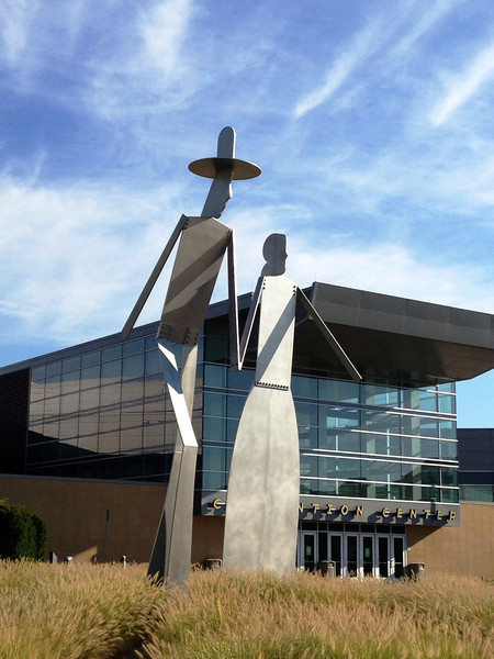 Giant metal sculpture at Convention Center in Council Bluffs, Iowa