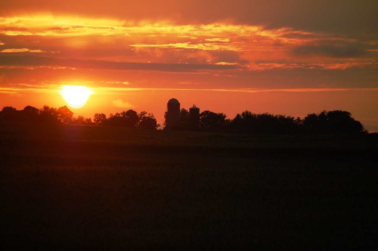 Sunset over farmland in Central Wisconsin