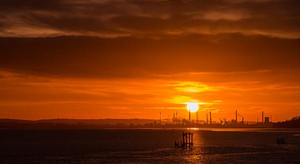 Stanlow Oil Refiney sunrise