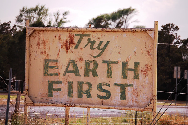 Try Earth First sign at entrance to Earth, Texas