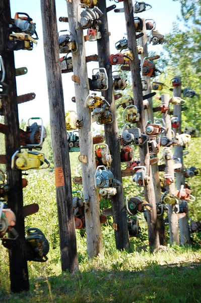 Chainsaw Totem Poles near Medford, Wisconsin