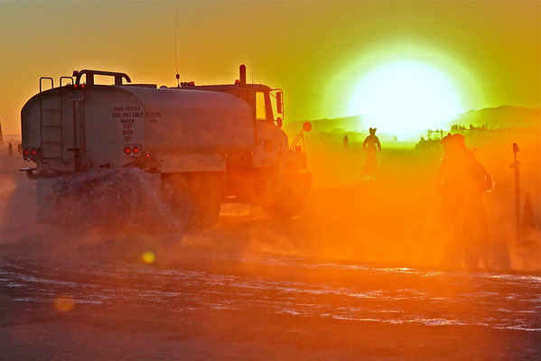 Water truck @ sunrise - Burningman 2011
