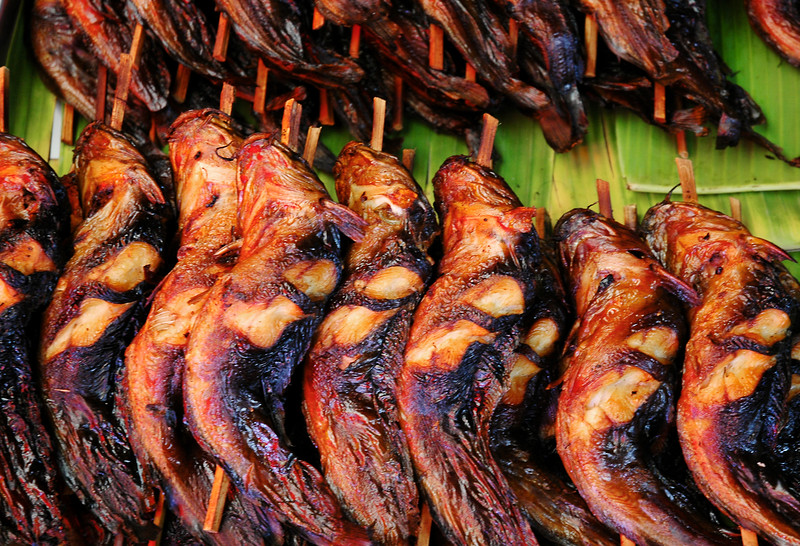 Grilled Fish on a Stick<br /> Samut Songkhram Railway Market