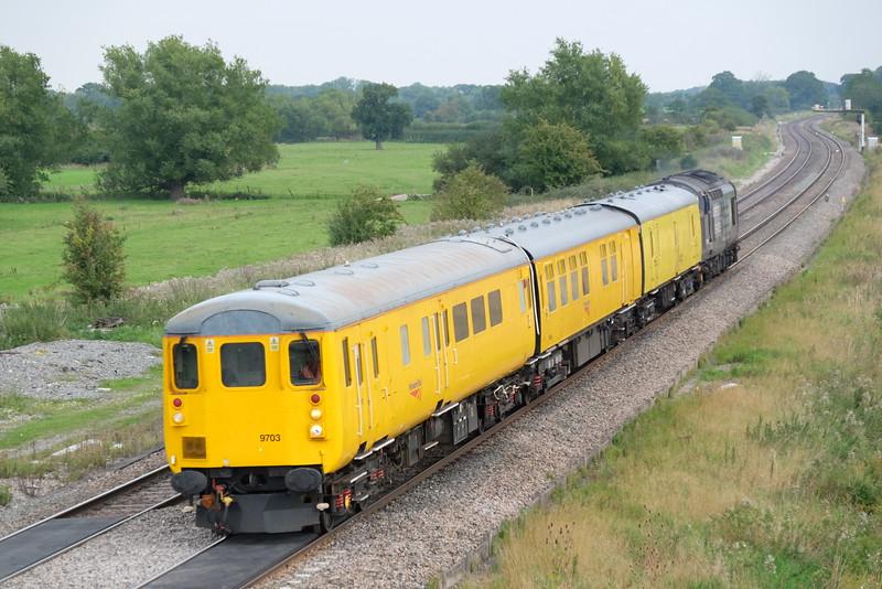 Derby to Bristol Barton Hill test train  near Shrivenham, Oxfordshire,  37603 on rear