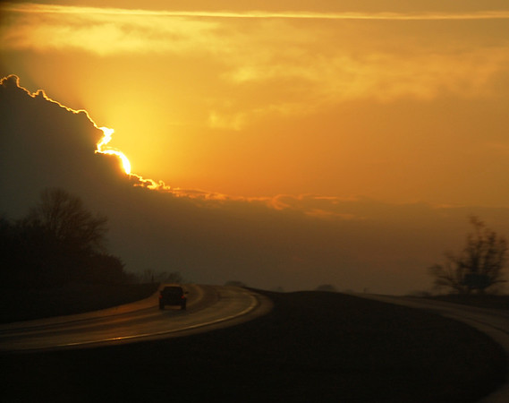 Sunrise on I-64 W near Poseyville, Illinois