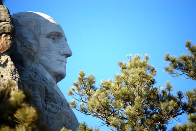The head of George Washington at Mt. Rushmore in South Dakota