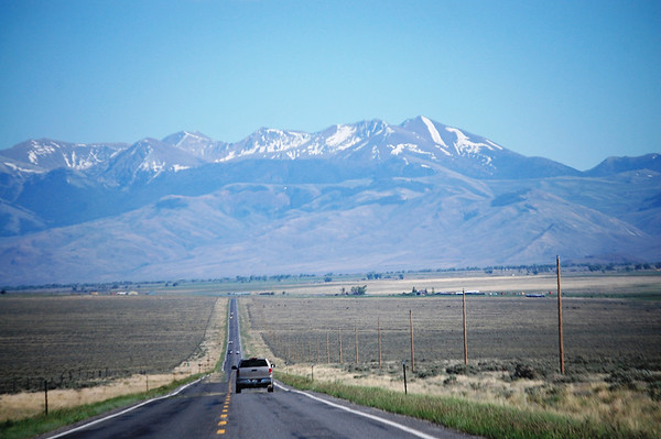 US 93 heading north towards Boarah Peak in Idaho