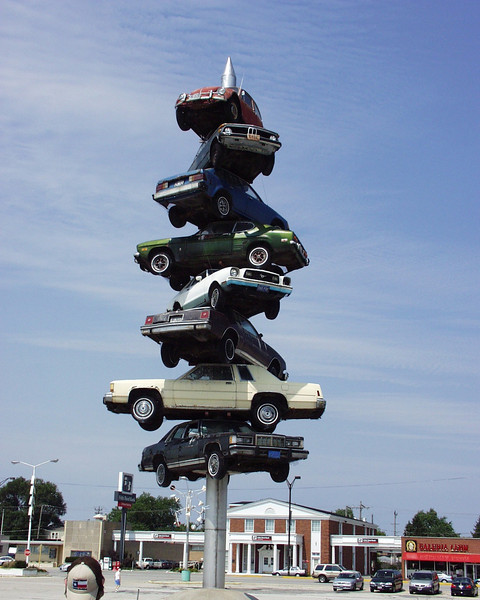 """Spindle"" - cars on a spike formerly at Cermak Plaza in Berwyn, Illinois and featured in the movie Wayne's World (no longer in existence)"