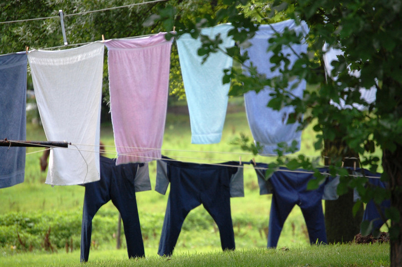 Amish clothing hanging out to dry in Arthur, Illinois