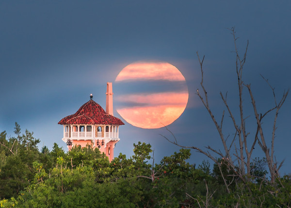 Full moon rising behind Maralago- Winter White House, Palm Beach,FL