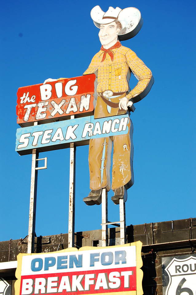 The Big Texan Steak Ranch Neon sign in Amarillo, Texas