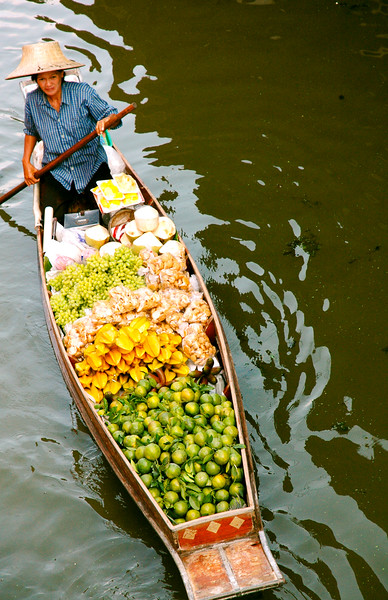 Mobile Fruit Vendor<br /> Floating Market<br /> Damnoen Saduak, Ratchaburi