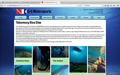 Website for G+S Watersports in Tobermory, www.gswatersports.net