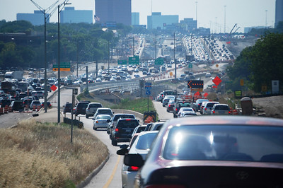 DFW Traffic on I-635E heading into Dallas, Texas