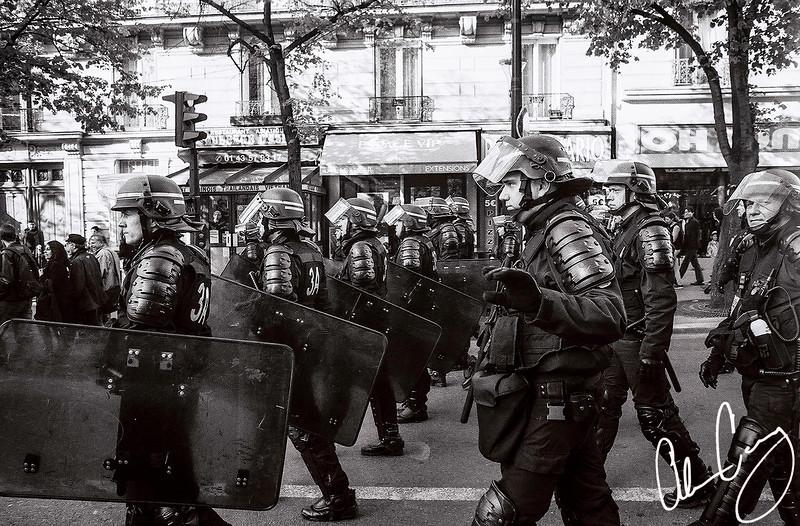 paris police head towards place de la république to prepare for protests leading up to the 2017 french presidential elections.