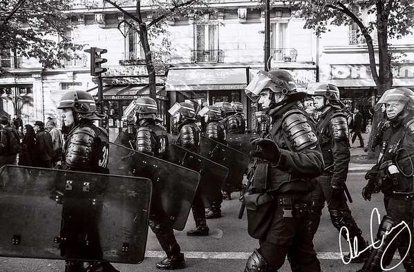 paris police head towards place de la république to prepare for protests leading up to the 2017 french presidential elections.