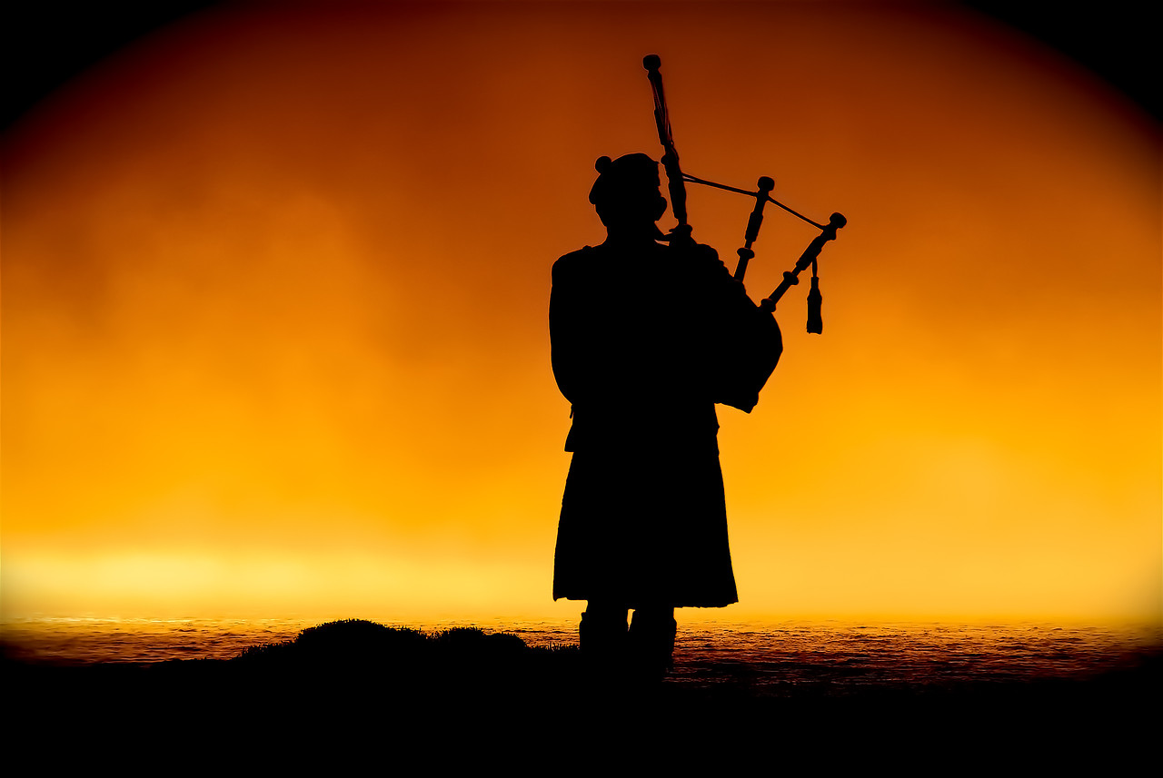 Bagpiper At Sunset - Pebble Beach