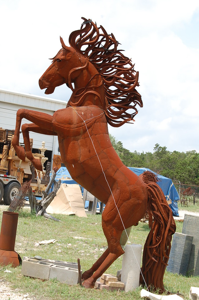 Scrap metal horse in Dripping Springs, Texas