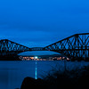 "Forth Bridge in Scotland. This was definitely the ""blue hour""  Looked stunning. Where we took this was from was bunny rabbit central, they where everywhere, along with there little droppings!! Vicki was more interested in taking photo's of the bunny's than the bridge!"