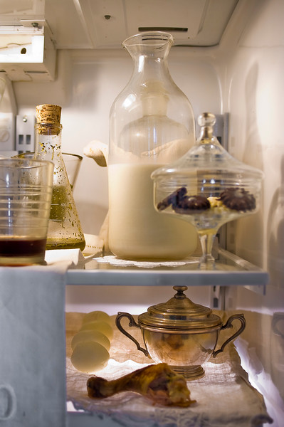 The highly organized fridge of designer Morgan Puett in her country home in Pennsylvania.
