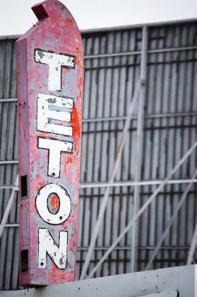 Teton Neon Sign at Teton Drive-In near Driggs, Idaho