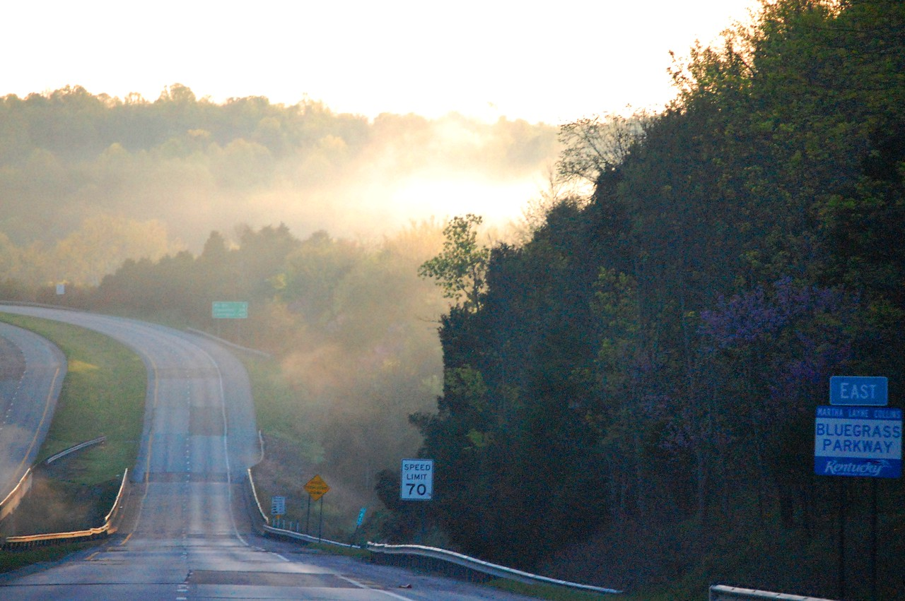 Foggy morning drive on Bluegrass Parkway near Bardstown, KY