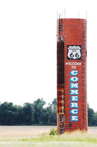 The famous Route 66 water tower of Commerce, Oklahoma (birthplace of Mickey Mantle)