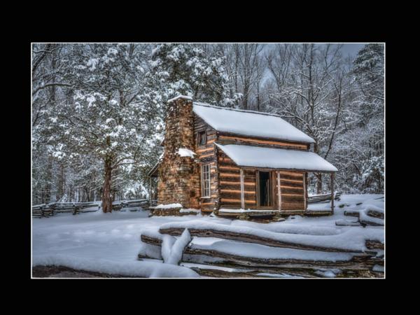 A Snowy John Oliver Cabin