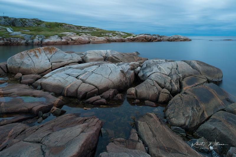 Greenspond Island rocks after sunset