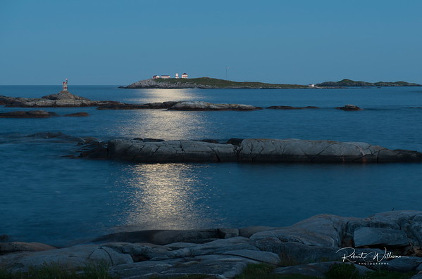 Puffin Island Lighthouse by moonlight