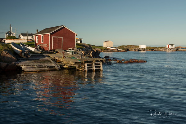 Fishing huts along the shore in Greenspond Island