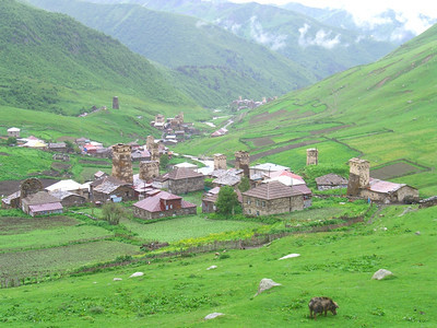 Green Fields and the Houses - Svaneti, Georgia
