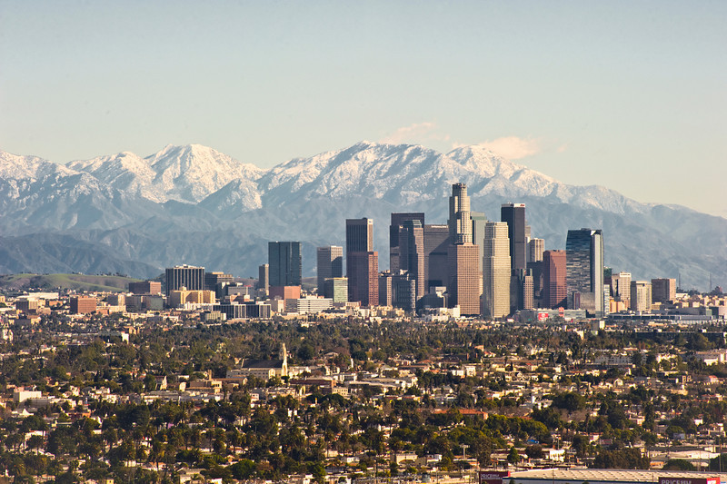 A clear winter day, Downtown Los Angeles
