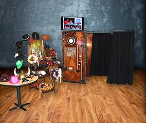Rustic steampunk time machine photo booth.