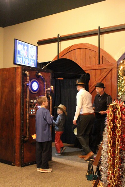 Rustic steampunk time machine photo booth.
