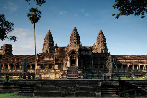 The 3 towers of Angkor Wat temple visible from the North gate entrance.  Angkor Wat was built for the king Suryavarman II in the early 12th century as his state temple and capital city.
