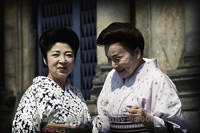 Two Japanese ladies visiting the ruins in Macao