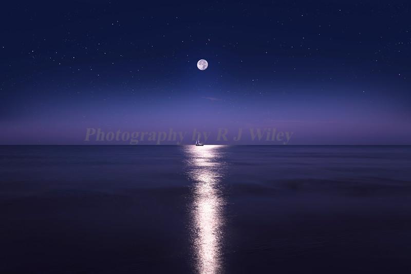 Moon and sailboat 3205