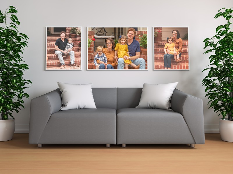Triple Poster In Living Room Mockup