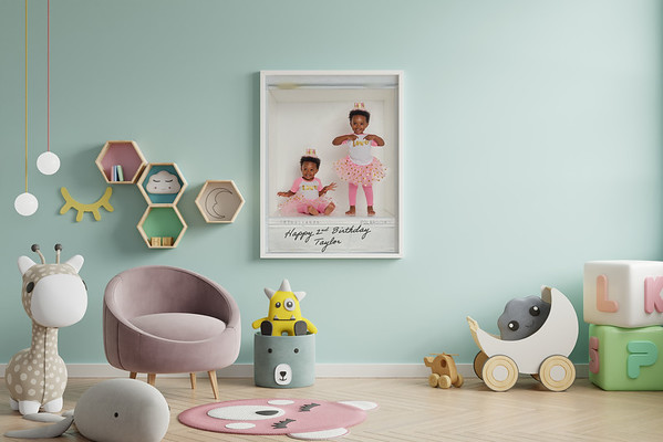Mock up posters in child room interior.