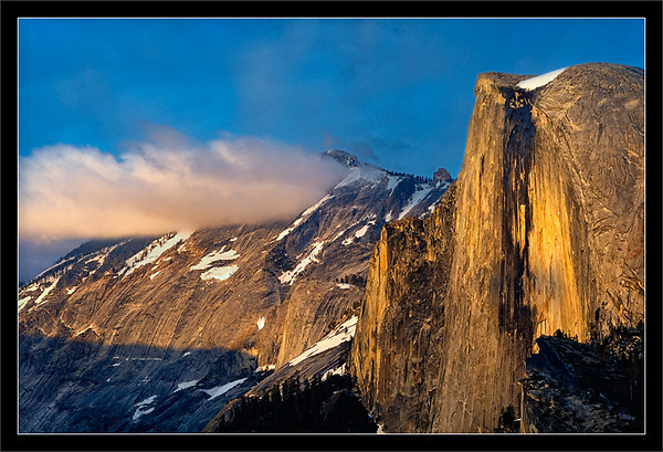 Half Dome & Cloud's Rest at Sunset<br /> <br /> Sunset lights the sheer face of<br /> Half Dome and the aptly-named<br /> Cloud's Rest in the background.<br /> <br /> Yosemite National Park, California<br /> <br /> 30-MAY-2011