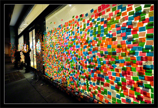 Memorial Notes to Steve Jobs<br /> <br /> A few thousand Post-It notes cover<br /> the Apple Store windows in Palo Alto.<br /> <br /> People stop to read and leave short<br /> notes to the late Steve Jobs, who<br /> lived just 1.5 miles from this store.<br /> <br /> University Avenue<br /> Palo Alto, California<br /> <br /> 16-OCT-2011