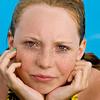 Spontaneous portrait at a swimming pool