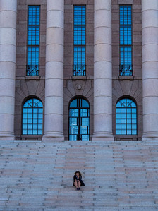 On the steps of the Parliament House