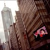 Asia.  China.  Hong Hong.  Giant advertising screen in downtown Queen's Road.